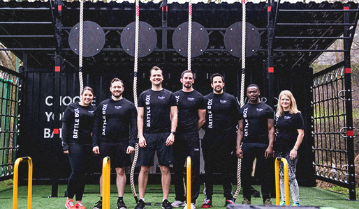 David Lloyd instructors standing in front of Battlebox