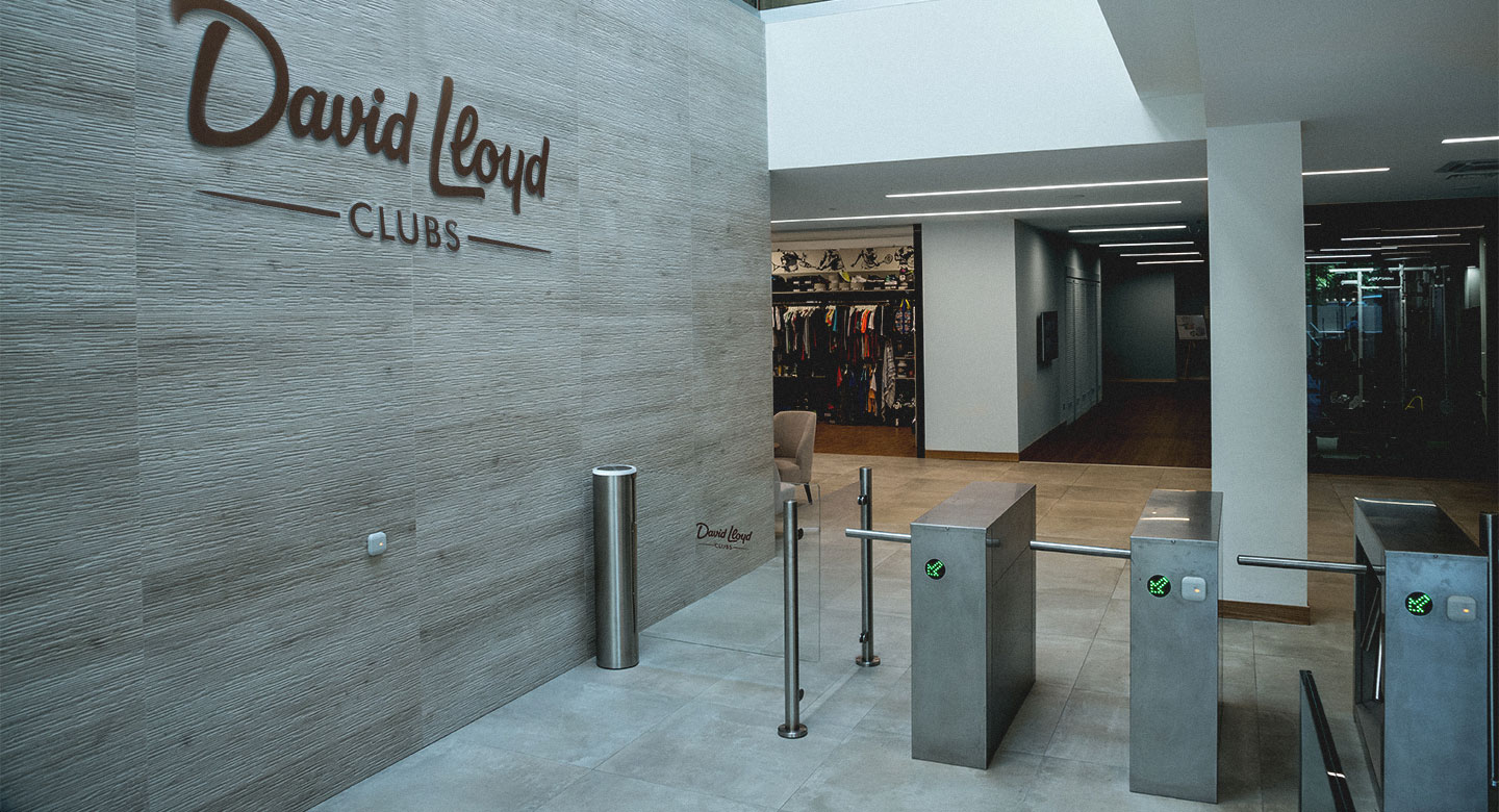 David Lloyd Malaspina reception area with brand new turnstiles and sports shop